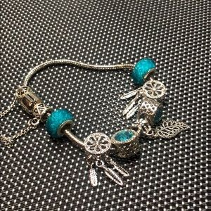 Jewelry - 925 sterling silver and blue aqua bracelet